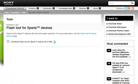 Flash tool for Xperia™ download